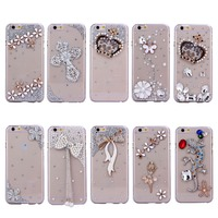 2016 OEM design Diamonded back cover mobile phone PC case for iphone 4 4s 5c for girls