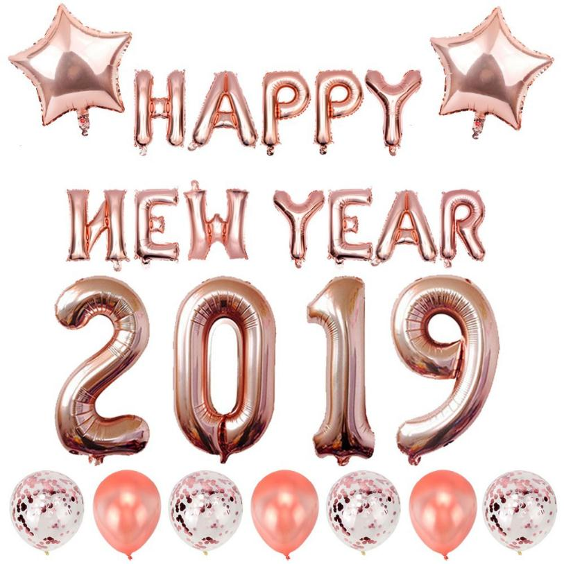 2019 Happy New Year Gold Silver and Rose Gold Foil Balloon Kit Decoration