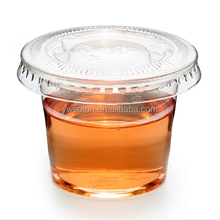 clear PET plastic tasting cup disposable small sauce cup with lid