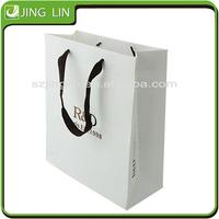 Logo Printed flat handle paper bag for shop wholesale
