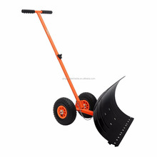 Adjustable Snow Pusher with Wheel Heavy Duty Snow Plow Rolling Snow Shovel Plough tc720s