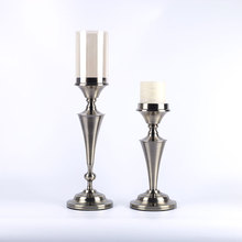 pillar shape metal decorative candle holder with cylinder glass