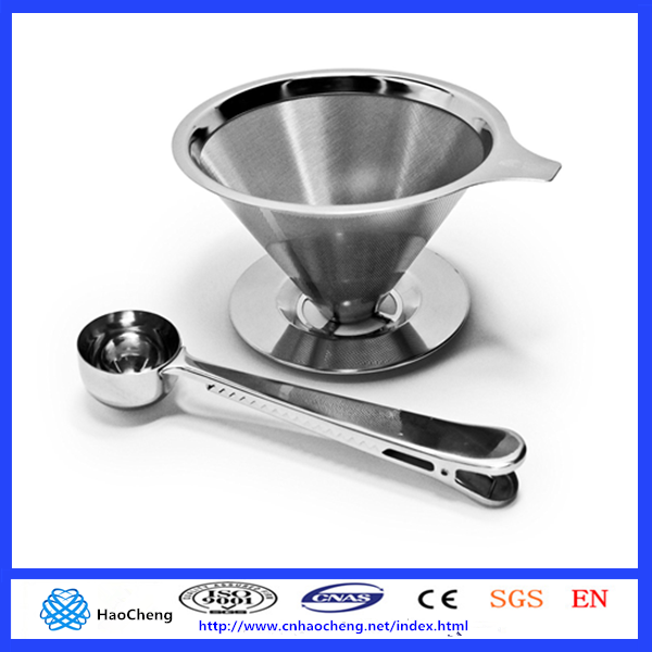 Stainless Steel Pour Over Coffee Dripper/Reusable Double Layer Mesh Filter and Coffee Scoop with Bag Clip