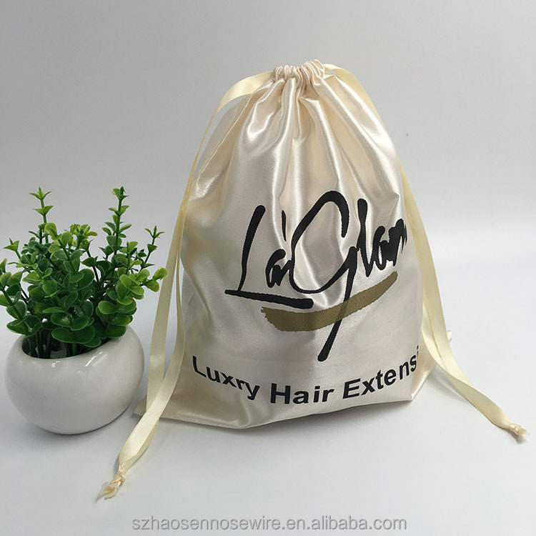 Luxury Printed Satin Hair Extension Pouch For Promotion