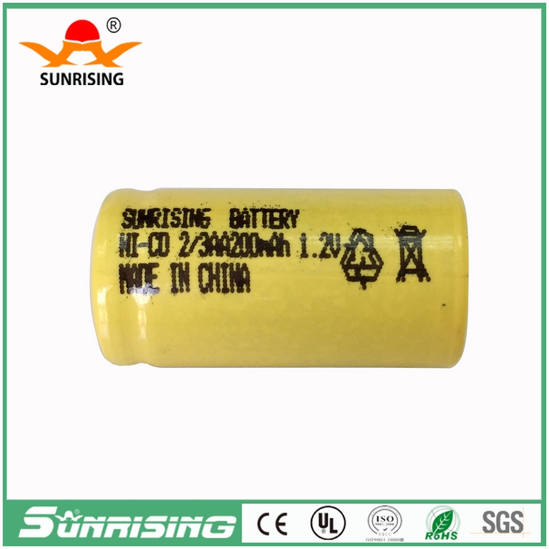 Nicd 2/3AA 200mah rechargeable battery 1.2v