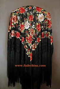 54 inches Black multi Manton de Manila 100% hand embroidered pure silk spanish flamenco shawl