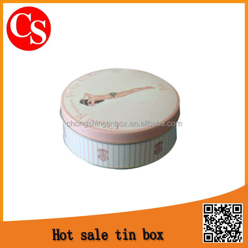 round fashion food tin can metal box