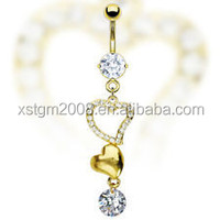 Gold double CZ Navel Belly Button rings free