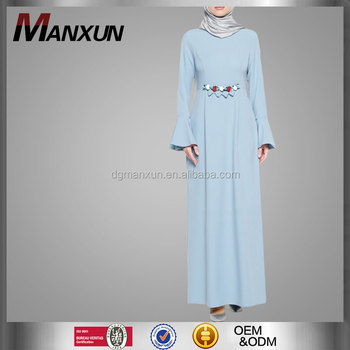 new arrival modern islamic clothing blue beading muslim women ladies abaya