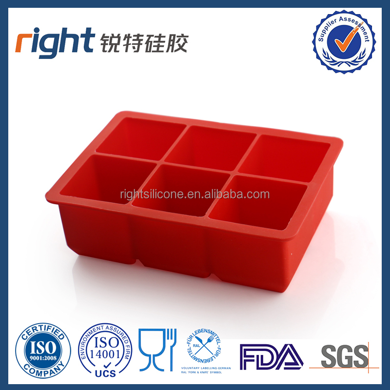 New 2016 Hot Sale FDA, LFGB Approvals Silicone Stackable 6 Cavity Jumbo Silicone Ice Cube