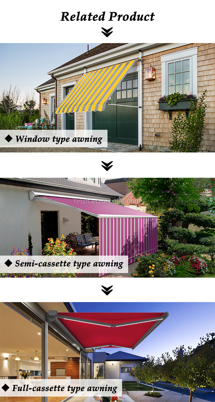 Manual Aluminum Free Standing Retractable Full Cassette Side Garden Awning