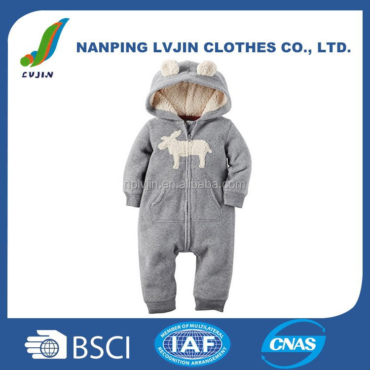 Infant & Toddlers Clothing Warm Baby Boys' Hooded Eared Romper