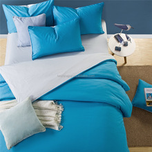 Reversible 100% cotton blue duvet cover solid color bedding set sheet for adults