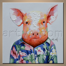 Original Animal Designs Wooden Piggy Oil Painting Big Woman