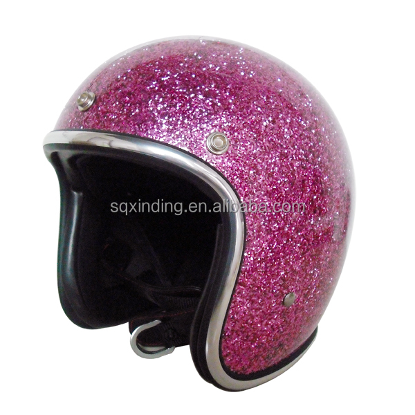 Rare Design 3/4 Open face helmet DOT Purple Metal flake 70's Glitter Motorcycle Helmet