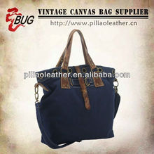 2013 spring canvas handbag/lady bag/ canvas handbag with leather trim