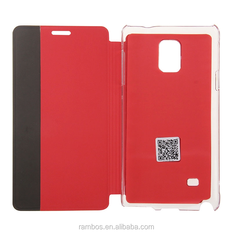 Folding Stand Flip Book Type Window Display Wake Sleep Leather Smart Cover for Samsung Galaxy Note 4 N9100