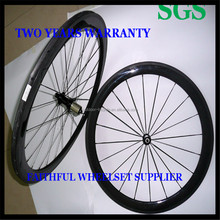 3K Clear Coating 700c 50mm Clincher Tubular Carbon Bicycle Wheels