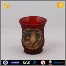 Hand painted santa claus red glass candle holder cup ,decoration home