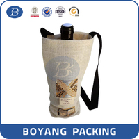 cute wine bottle bag with bamboo handle