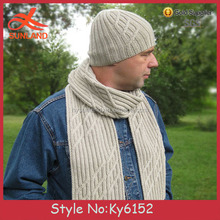 Whosale Men's cable knitted beanie hat and scarf sets long scarf winter beanie chunky hat scarf set