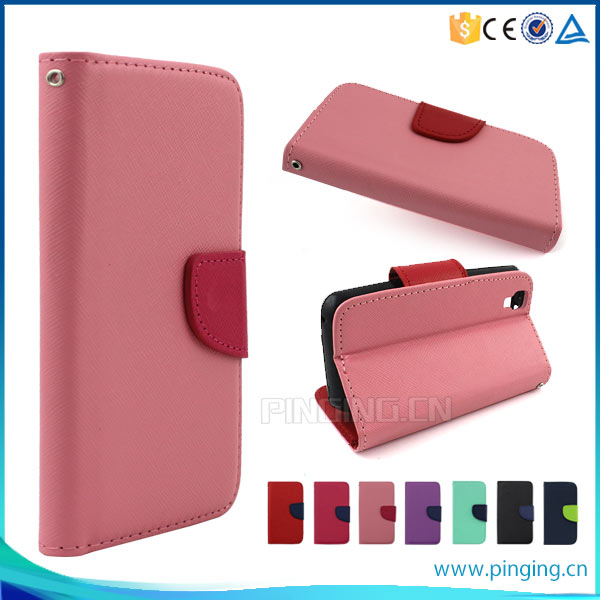 New arrival Mixed colors pu leather flip cover case for Sony Xperia E5