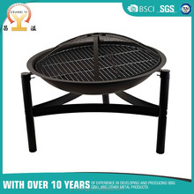 18 inch black round porcelain enamel chrome plated outdoor portable fire pit