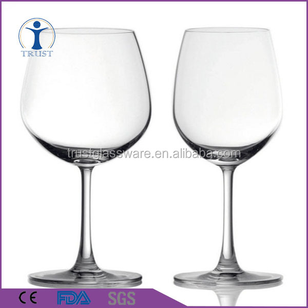 China Factory Redwine Glassware Hand Made Clear Stem Red Color Wine Goblet Lead-free Crystal Wine Glass