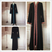 Latest Fashion kaftan for women jubah muslimah Kaftan Collection Black front open abaya