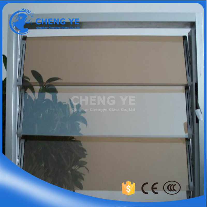 Security Building Shutter 8mm Blue Blind Jalousie Glass For Sunroom