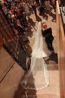 Customer Showing Luxury Lace End Wedding Veils Fashion Cathedral Bridal Veils