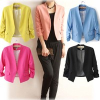 WA6034 No buckle sweet suit 2015 stylish women's pure color formal blazers for women
