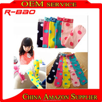 candy colored Polka Dots Childrens Stocking child cotton Knee high socks baby dress Stockings