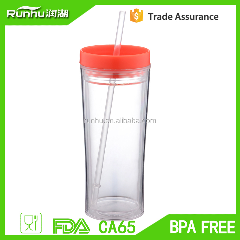 16 Oz Skinny Double Wall Acrylic Tumbler With Lid And Straw (Clear) RH116-16