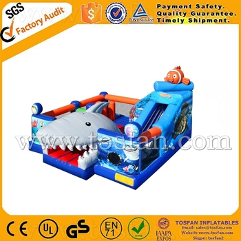 2016 new design inflatable shark bouncer inflatable slide A5033