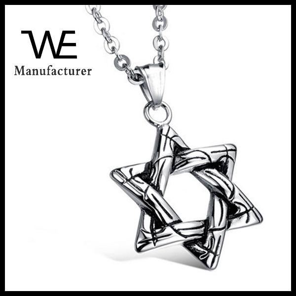 2015 New Designs Style Pendant Fashionable Six Star Stainless Steel Men's Necklace All Match Accessorise Jewelry