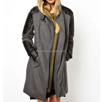 Fashion Design Woman Clothes Woolen Long Coat Leather Sleeve Trench Coat Woman Wear