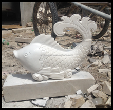 Natural marble stone fish sculpture