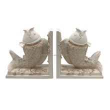 OMN Antique Beige Gold Fish Poly Resin Bookends