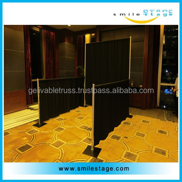 outdoor fashion aluminum pipe and drape with standard black velvet curtains