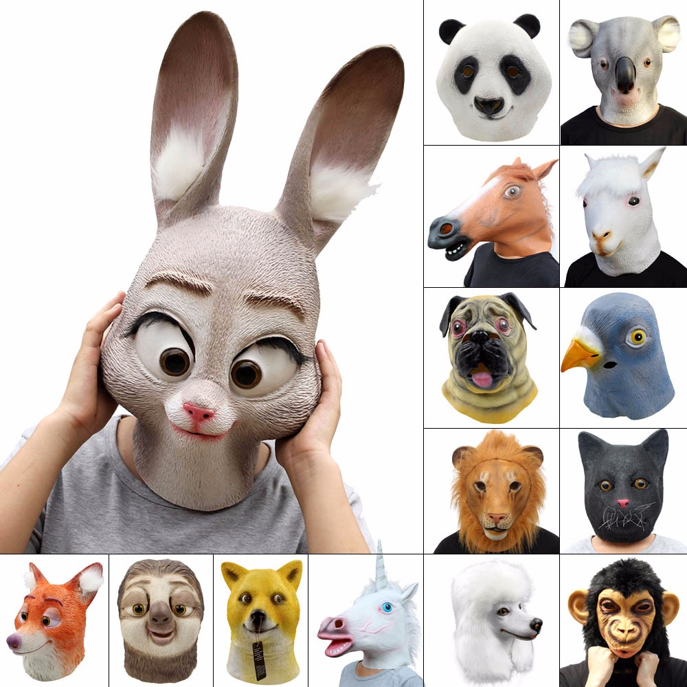 Halloween Party Carnival Horror Realistic Latex Animal Mask