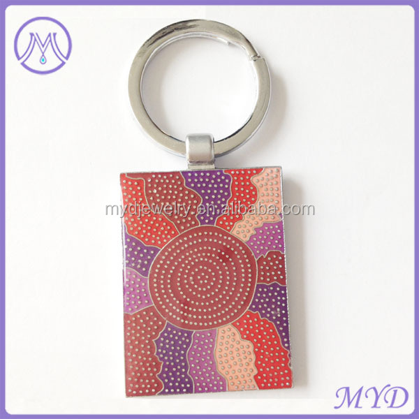 Promotional Metal Iron multicolors Design Art square keychain