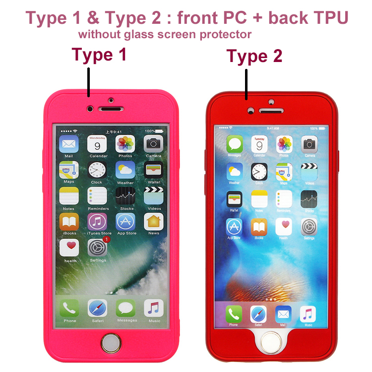 Fashion 360 Degree Shockproof Full Phone Cover Custom Front PC + Back TPU 2 in 1 Hybrid Mobile Phone Case for iPhone 7 Case
