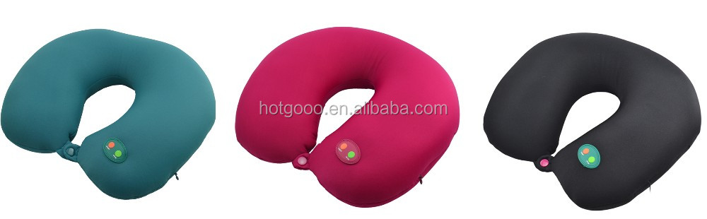 Good quality U shape electric vibration travel massage pillow for head /neck