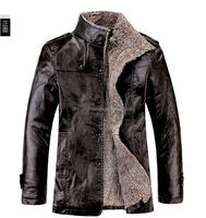 round neck rough pattern fur linning man leather jacket