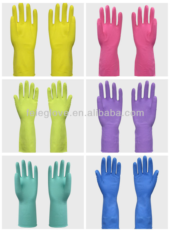 CE manufacturer for cotton lined rubber gloves household washing latex gloves
