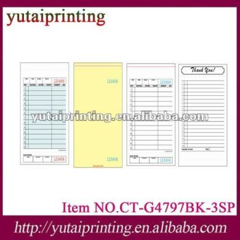 Carbonless custom loose triplicate sample hotel invoice