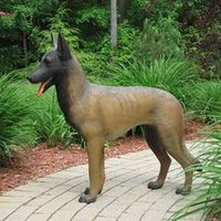 Life size fiberglass German shepherd dog statue for decoration