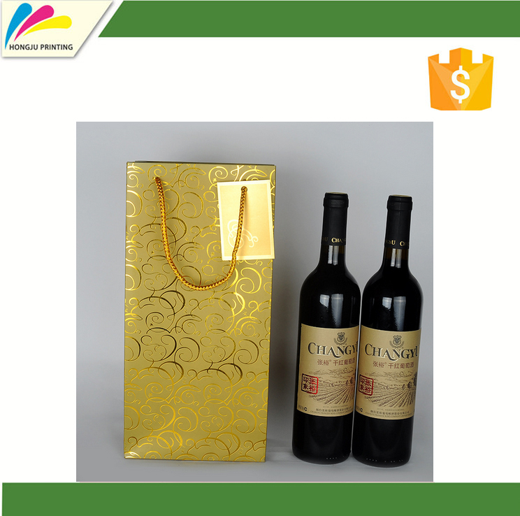 high quality Eco-friendly cmyk & pantone gold color custom printing paper wine gift bag