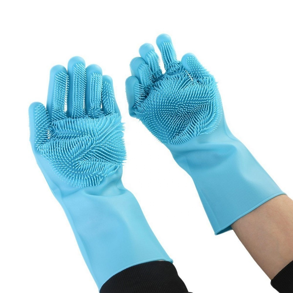 Best Household Cleaning Products Magic Sponge Brush Finger Rubber Silicone Dishwashing Gloves with Scrubber for Dish Washing
